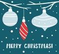 Christmas gift box simple scandinavian card. New year greeting