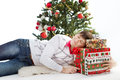 Christmas gift box. Smiling man and fir tree Stock Photos