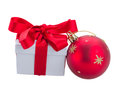 Christmas gift boxe with red ball isolated on white background Royalty Free Stock Photo