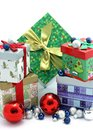 Christmas gift boxes with christmas ornaments
