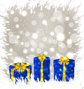 Christmas gift boxes on glowing background illustration Stock Images