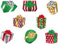 Christmas gift boxes a series of presents wrapped in colorful patterned wrapping paper Stock Photo