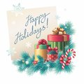 Christmas gift boxes stack greeting text of with handwritten on paper illustration Royalty Free Stock Photo