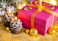 Christmas gift with branch firtree Stock Photo