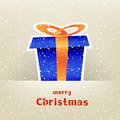Christmas gift card with snow around the and falling on the light mesh background Stock Photography