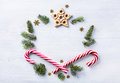 Christmas gift composition. Christmas holiday sweets and fir tre Royalty Free Stock Photo