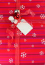Christmas gift with decorative red ribbon bow Royalty Free Stock Photography