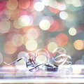 Christmas gift detail cokeh lights background Royalty Free Stock Photography