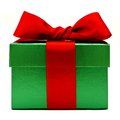 Christmas gift green box with red bow isolated on white Royalty Free Stock Photo