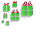 christmas gift green red paper 3D icon