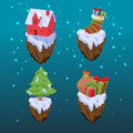 Christmas Gift Icon Object Set