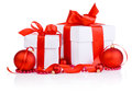 Christmas gift with Red Ball, ribbon bow and beads Stock Image