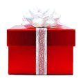 Christmas gift red box with white bow and ribbon Stock Photo