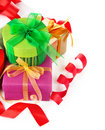 Christmas gift with ribbon and bow Stock Photo