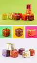 Christmas gift set placed on various colored backgrounds green yellow pink and white Stock Photo