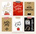 Image : Christmas gift tags and cards with calligraphy.  fir composition
