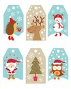 Christmas gift tags cute collection of Royalty Free Stock Images