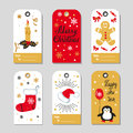 Christmas gift tags set. Vector collection of doodle winter holidays labels Royalty Free Stock Photo
