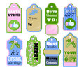 Christmas gift tags set on white background. Pastel color vintage icons for sale or discount offer.