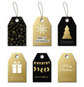 Christmas gift tags. Vector gold labels Royalty Free Stock Photo
