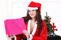 Christmas gift woman happy with santa costume Royalty Free Stock Photo