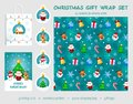 Christmas gift wrap set. Seamless pattern, greeting card, gift tags, paper shopping bag.
