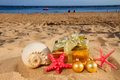 Christmas gifts on beach