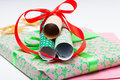Christmas gifts and decorations Stock Image