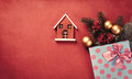 Christmas gifts and house toy Royalty Free Stock Photo
