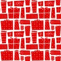 Christmas gifts. Seamless pattern with present boxes in cartoon flat style. Vector illustration. Royalty Free Stock Photo