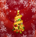 Christmas gifts snowflakes background Stock Photo