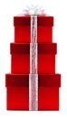 Christmas gifts stack of red gift boxes with white bow and ribbon Royalty Free Stock Photography