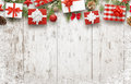 Christmas gifts on white wooden table with free space for text Royalty Free Stock Photo
