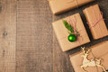 Christmas gifts on wooden background view from above Royalty Free Stock Image