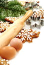 Christmas ginger biscuits, eggs, rolling pin. Stock Images