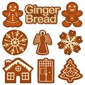 Christmas ginger bread cookie colorful bright set.