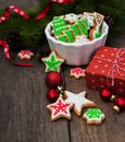 Christmas ginger and honey colorful cookies Royalty Free Stock Photo