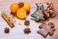Christmas gingerbread bakery with oranges and spices Stock Photos