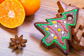 Christmas gingerbread bakery with oranges and spices Royalty Free Stock Images