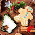 Christmas gingerbread baking background dough cookie cutters s spices and nuts festive food top view closeup Stock Images