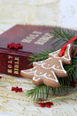 Christmas gingerbread and the Bible Stock Photo