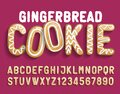 Christmas Gingerbread Cookie alphabet font. Cartoon letters and numbers with shadow. Royalty Free Stock Photo