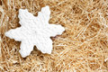 Christmas gingerbread cookie made in the shape of a snowflake on paper shaving Royalty Free Stock Photo