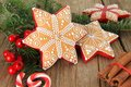 Christmas gingerbread cookie sugar star also available in vertical Royalty Free Stock Photos