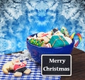 Christmas gingerbread cookies and a blackboard with congratulati congratulations Stock Image