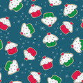 Christmas gingerbread cookies with cakes green and seamless pattern red Royalty Free Stock Image