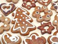 Christmas gingerbread cookies decorative shape shot from above Stock Image
