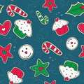 Christmas gingerbread cookies green and red seamle seamless pattern with white Royalty Free Stock Images
