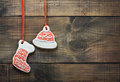 Christmas gingerbread cookies hanging Stock Photo