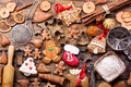 Christmas gingerbread cookies with ingredients for cooking Royalty Free Stock Photo